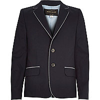 Boys navy blue smart cotton blazer