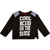 Mini boys black cool kid on the block t-shirt