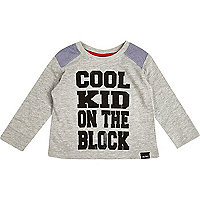 Mini boys grey cool kid on the block t-shirt