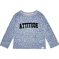 Mini boys blue burnout attitude print t-shirt