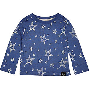 Mini boys blue long sleeve star print t-shirt