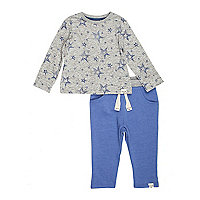 Mini boys grey star top and blue jogger set