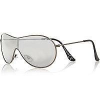 Boys silver tone visor aviator sunglasses