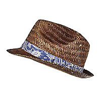 Boys light brown straw trilby hat