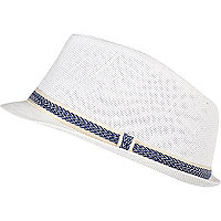 Mini boys white blue trim trilby hat