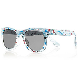 Mini boys blue dinosaur print sunglasses