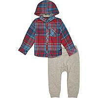 Mini boys red check shirt and jogger set