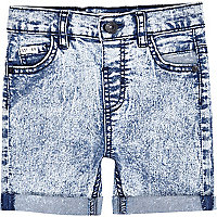 Mini boys blue acid wash denim shorts