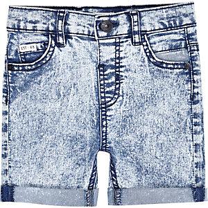 Mini boys blue acid wash denim shorts