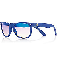 Boys blue rubber retro sunglasses