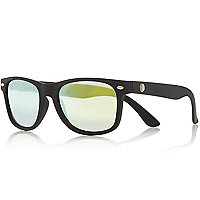 Boys black rubber retro sunglasses