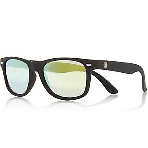 Boys black rubber retro sunglasses