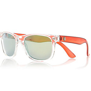 Boys red clear retro sunglasses