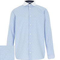 Boys blue polka dot collar contrast shirt