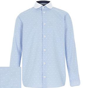 Boys blue polka dot collar contrast shirt
