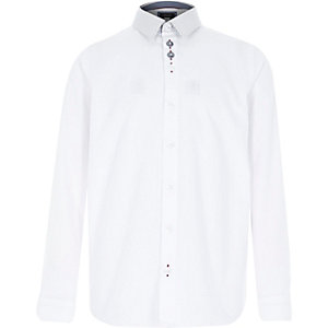 Boys white contrast collar shirt