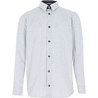 Boys grey spot print shirt