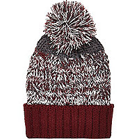 Boys red twist bobble hat
