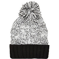 Boys grey twist bobble hat
