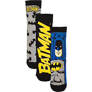 Boys black batman socks 3 pack