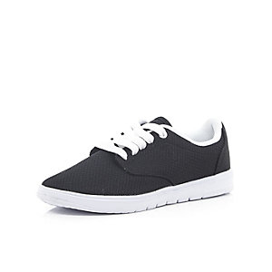 Boys black lace up trainers