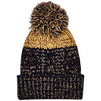 Boys navy and gold bobble hat