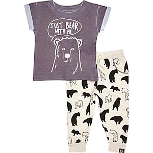 Mini boys grey bear with me outfit