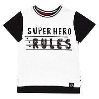 Mini boys white super hero rules t-shirt