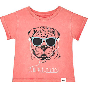 Mini boys orange puppy print t-shirt