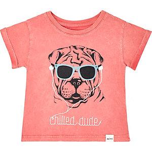 Mini boys orange puppy print t-shirt