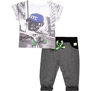 Mini boys pug t-shirt and jogger outfit