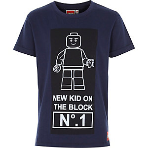 Boys navy lego kid on the block print t-shirt