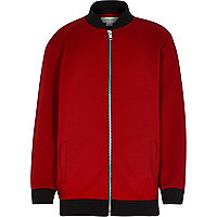 Boys red long sleeve bomber jacket