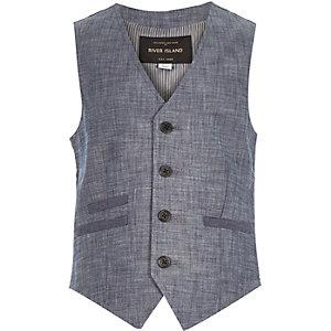 Boys blue chambray waistcoat