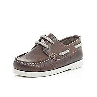 Mini boys brown boat shoes