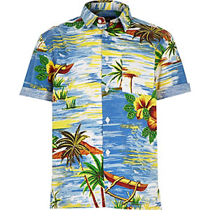 Boys blue Hawaiian print shirt