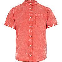 Boys red acid wash grandad shirt