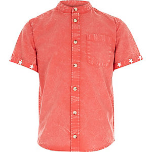 Boys red acid wash grandad shirt