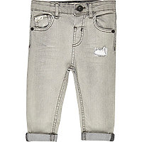 Mini boys grey rip repair slim jeans