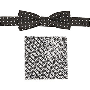 Boys black spot bow tie and pocket square set