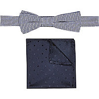 Boys navy gingham tie and pocket squares set