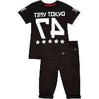 Mini boys black Tokyo top and joggers outfit