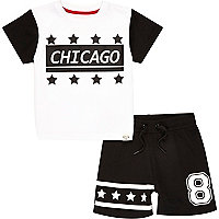 Mini boys black Chicago t-shirt short set