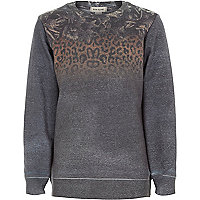 Boys grey leopard print sweatshirt