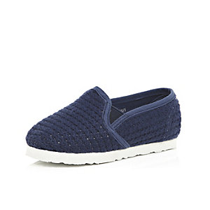 Mini boys navy blue mesh slip on plimsolls