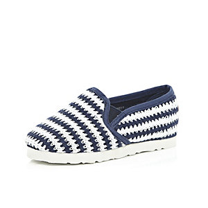Mini boys blue stripe slip on plimsolls