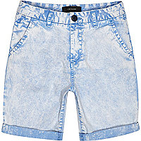 Boys blue acid wash shorts