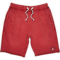 Boys red acid wash shorts