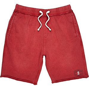 Boys red acid wash shorts