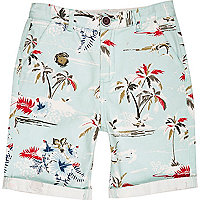 Boys blue tropical print shorts